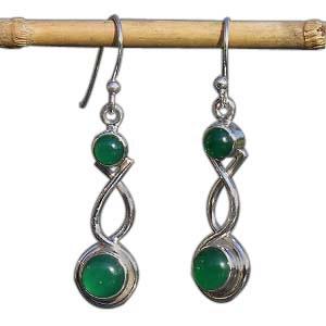 Boucles pendantes Agate verte