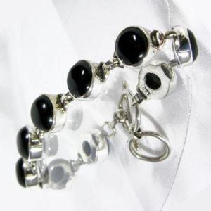 Bracelet argent et onyx pierres noires bijou femme