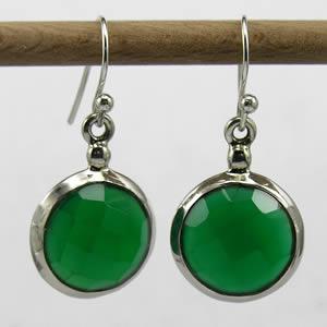 Boucles d'oreille ronde verte