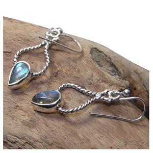 Labradorite boucles pendantes
