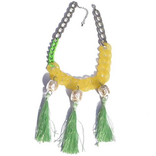 Collier grosse chaine et pompons kitch fluo