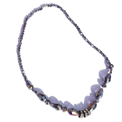 Collier strass gris violet