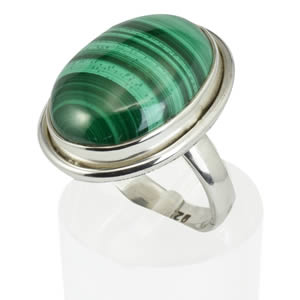Bague cabochon Malachite