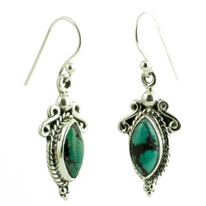 Boucles indienne turquoise