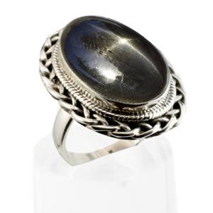 Grosse bague pierre étoilée noire argent