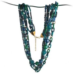 Collier sautoir perles vertes et bleues