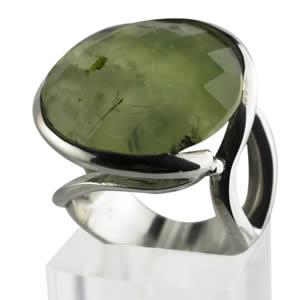 bague ronde Prehnite pierre verte