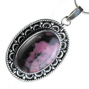 Rhodonite pendentif  femme rose et noir