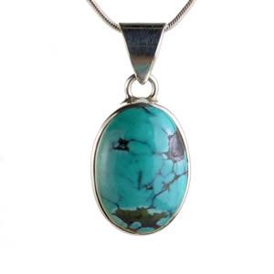 Pendentif vraie pierre bleue turquoise