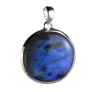 Pendentif rond et Labradorite  aux reflets bleus intenses