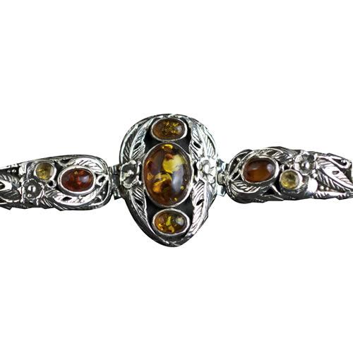 Beau bracelet en argent et ambre pour femme
