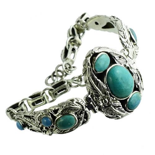 Beau bracelet en argent et Turquoise pour femme