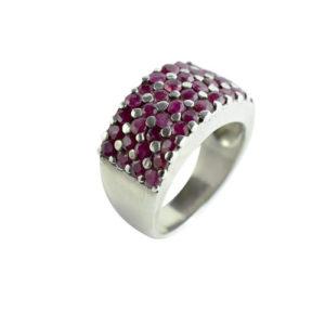 Bague femme anneau Rubis rose