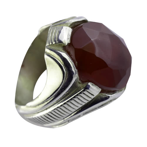 Agate rouge bague homme