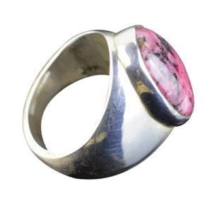 Chevalière argent massif femme pierre couleur rose