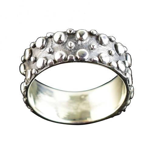 Bague argent motif anneau noire