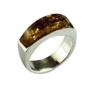 bague ambre vert design moderne