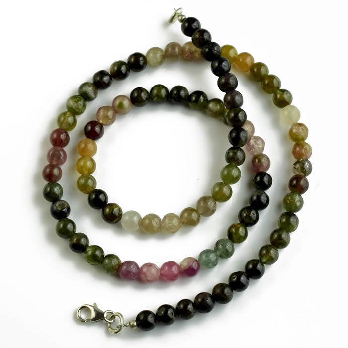Collier de perles de Tourmaline multicouleur