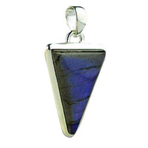 Pendentif labradorite reflets bleus et argent 925 forme triangle