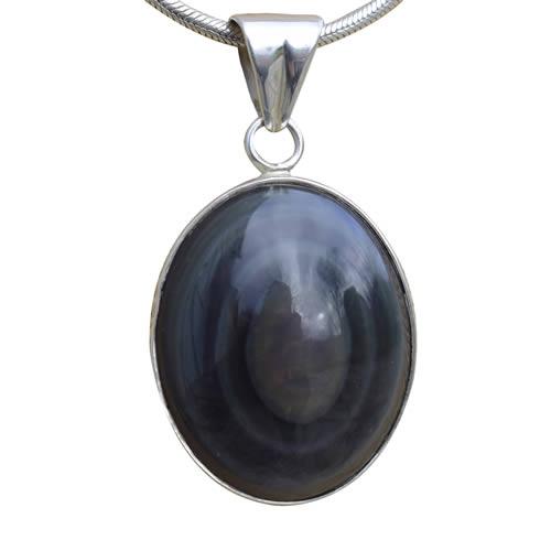 Pendentif Obsidienne œil céleste arc en ciel.