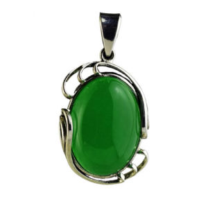 Pendentif en argent massif 925 et quartz vert