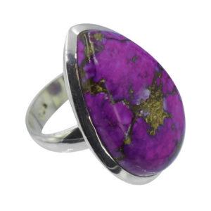 Bague femme pierre violette pourpre et argent