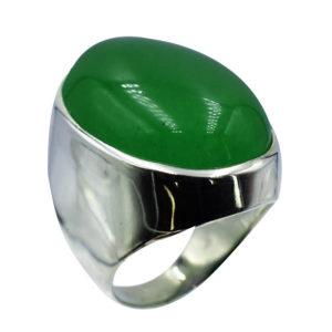Bague grosse pierre verte.