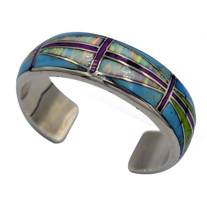 Bracelet épais argent incrusté d'Opale et Turquoise