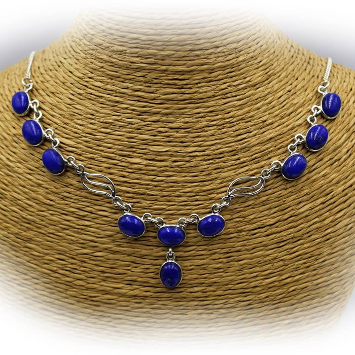 collier argent et lapis lazuli