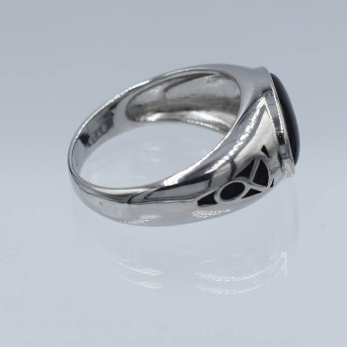 b94ad1dc6fcee Bague homme pierre noire ovale anneau argent   Agate You