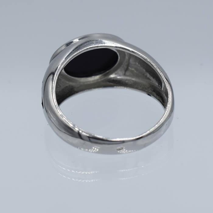 bague homme pierre noire ovale anneau argent agate you. Black Bedroom Furniture Sets. Home Design Ideas