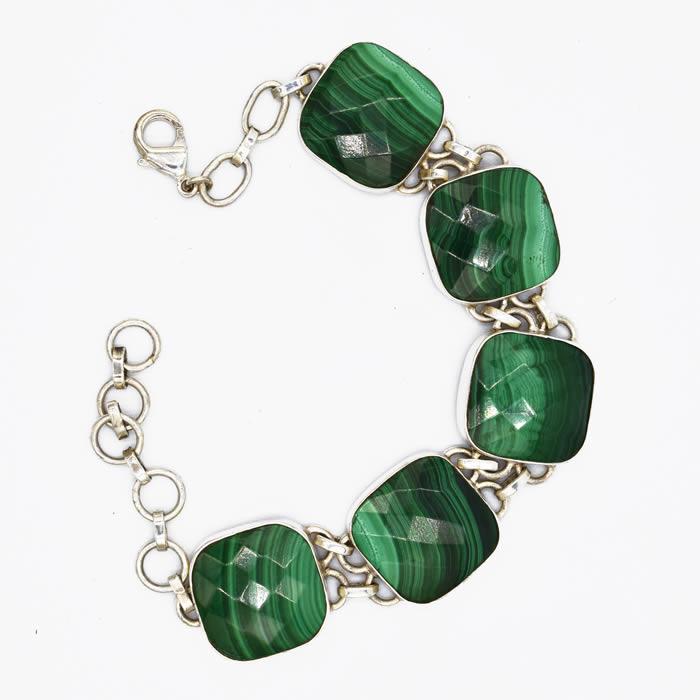 Bracelet Malachite agate you grosses pierres carrées.