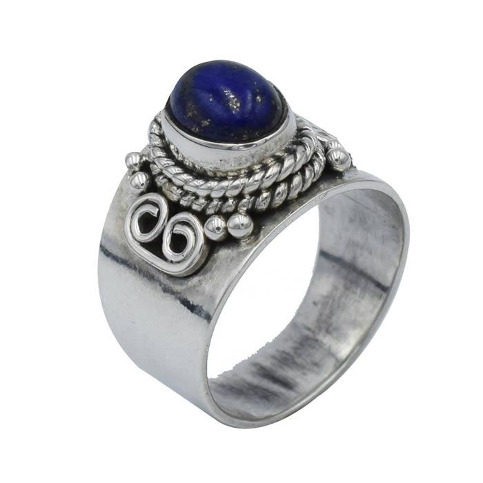 Bague argent et lapis lazuli petite taille doigt