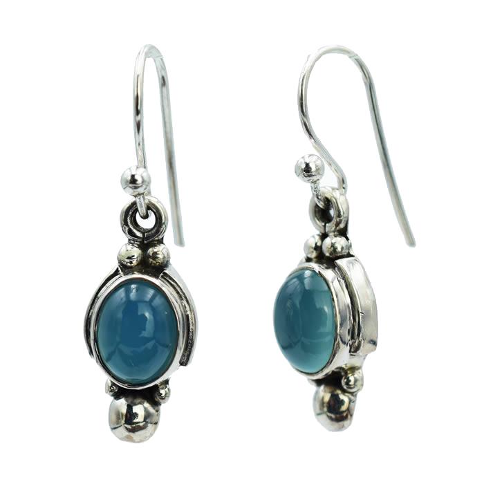 Boucles d'oreille bleue Agate.