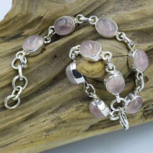 Bracelet argent et pierres quartz rose