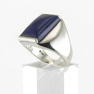 Grosse chevalière avec pierre bleue lapis lazuli