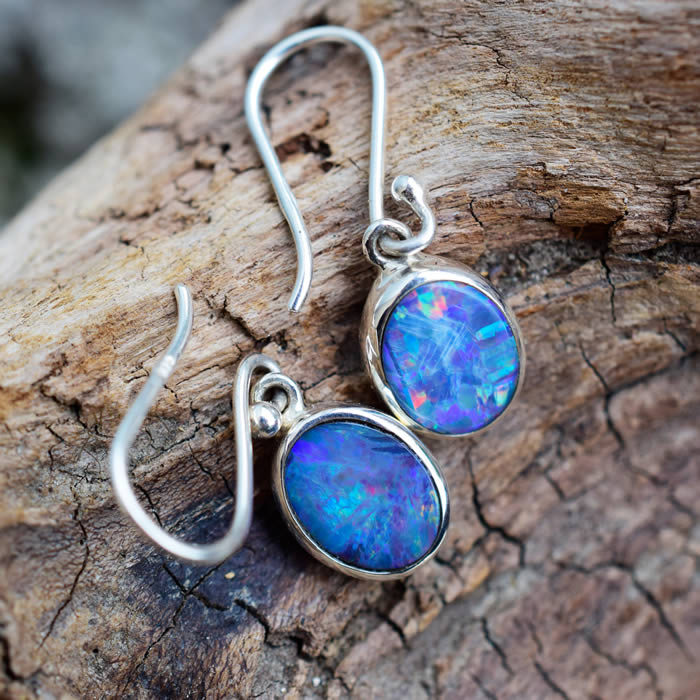Opale bleue boucle d oreille