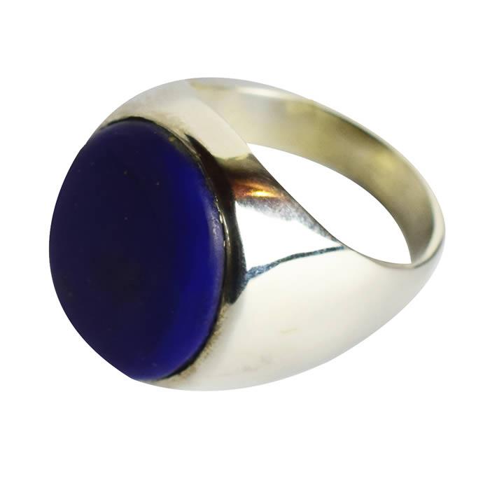 Chevalière épaisse bague argent homme pierre lapis lazuli