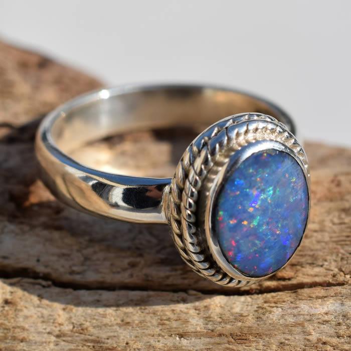 Opale bleue d'Australie bague