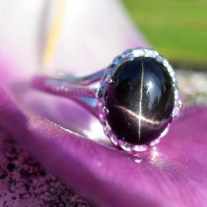 black star pierre semi précieuse noire étoilée