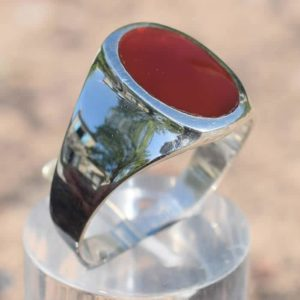 Bague homme simple pierre agate cornaline