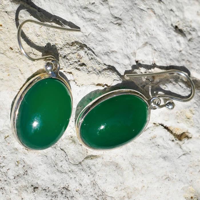 Boucles d'oreille argent avec des Agates vertes
