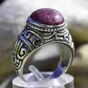 Bague homme argent et pierre rubis indien