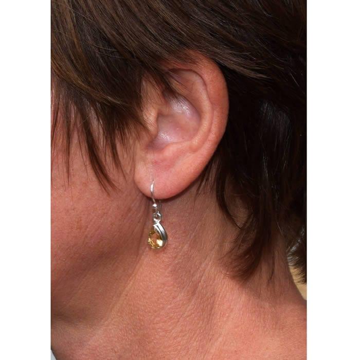 Boucles d/'oreilles Véronique en Citrine et argent 925