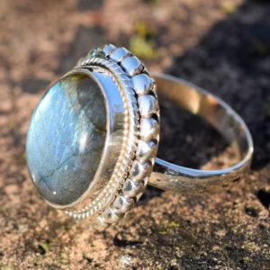 Bague bijou femme pierre labradorite