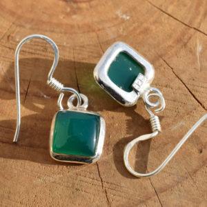 Boucles d'oreilles carrées argent agate verte