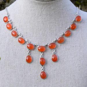 Collier femme argent avec pierres agate