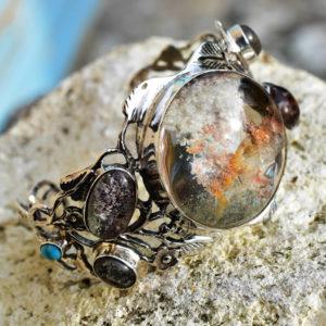 Manchette bracelet large argent avec pierres