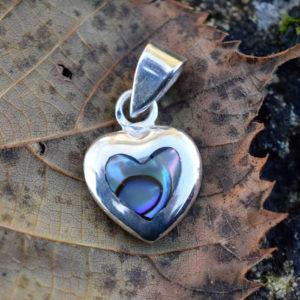 Petit pendentif cœur argent et nacre bleue