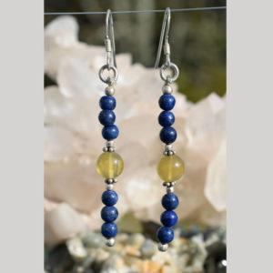 Longues boucles d'oreilles lapis lazuli citrine
